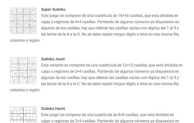 variantes de sudoku
